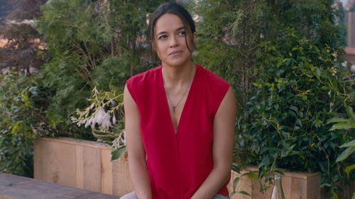 Michelle Rodriguez with 3.1 Phillip Lim Soft Draped Sleeveless Blouse in The Fate of the Furious