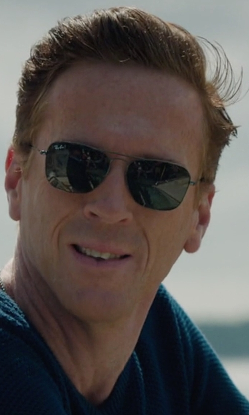 Damian Lewis with Ray-Ban RB3136 Caravan Rectangle Sunglasses in Billions
