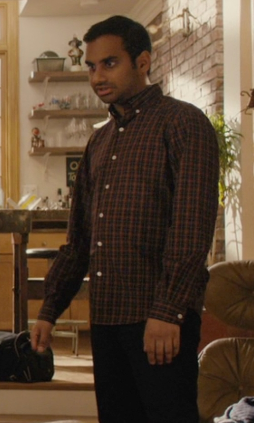 Aziz Ansari with Steven Alan Classic Collegiate Shirt in Master of None
