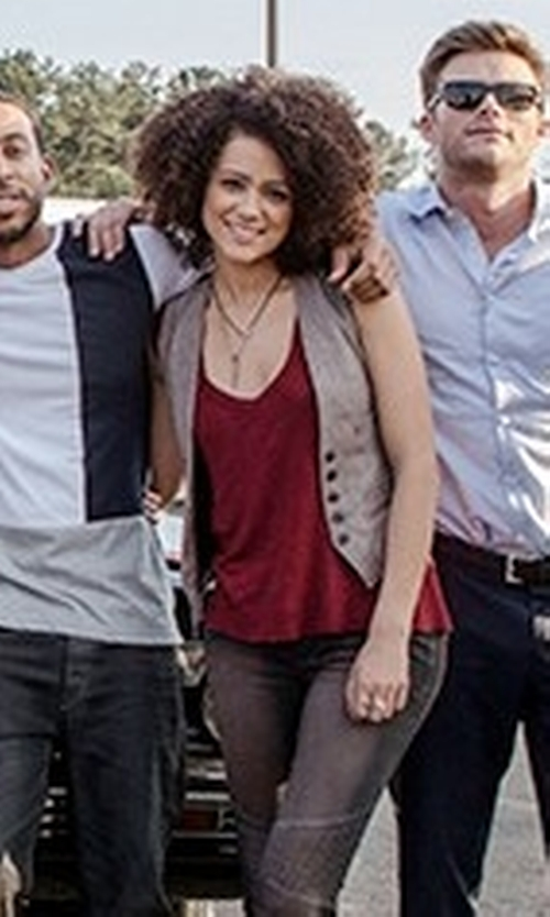 Nathalie Emmanuel with Neiman Marcus Cashmere Collection Scoop-Neck Cashmere Tank Top in The Fate of the Furious
