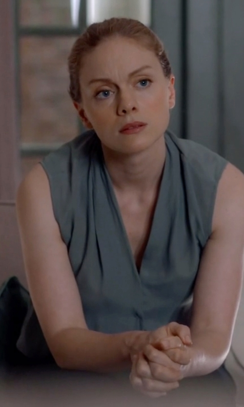 Christina Cole with Pleione Layered V-Neck Sleeveless Blouse in Suits