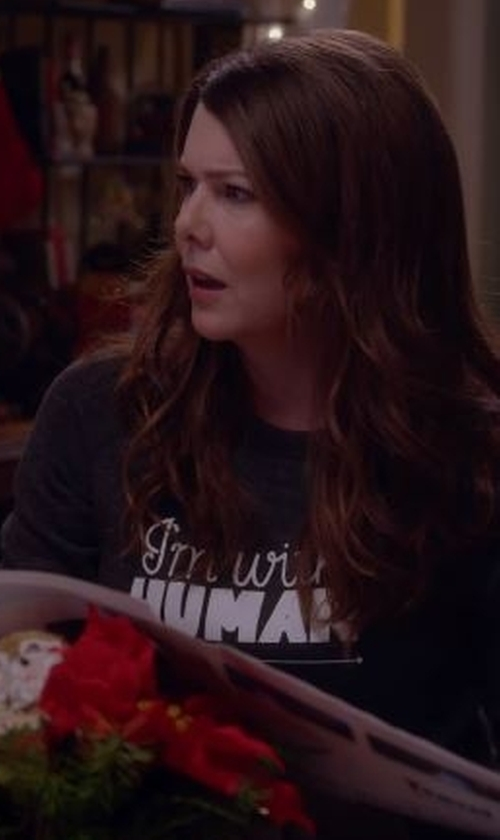 Lauren Graham with Rachel Antonoff I'm With Human Sweatshirt in Gilmore Girls: A Year in the Life