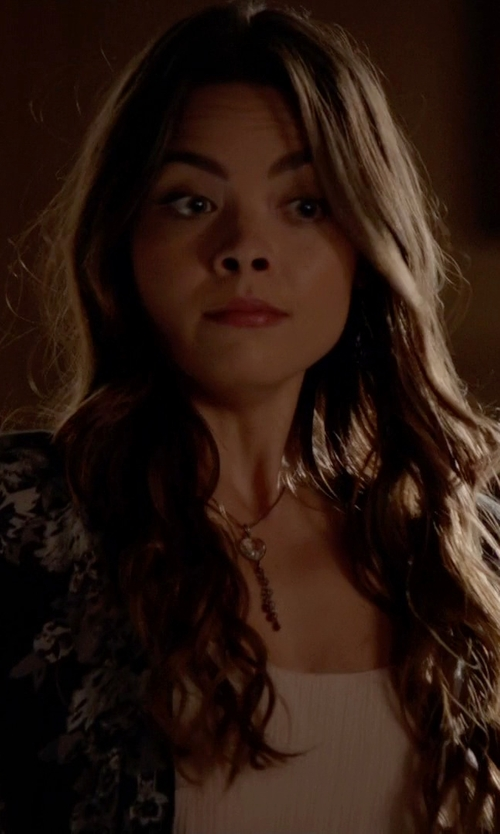 Scarlett Byrne with Romeo & Juliet Couture Woven Aztec Printed Fringe Kimono in The Vampire Diaries