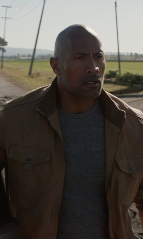 Dwayne Johnson with Cutter & Buck 'Roosevelt' Classic Fit Water Resistant Full Zip Jacket in San Andreas