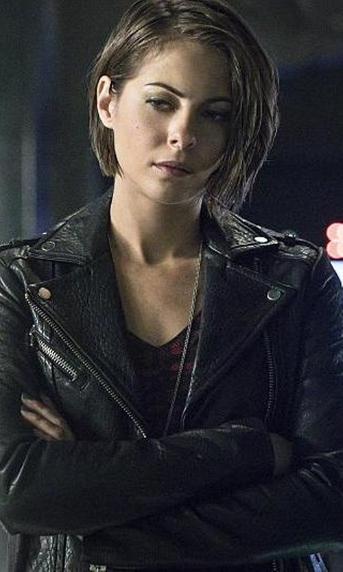 Willa Holland with Blank NYC Motorcycle Jacket in Arrow