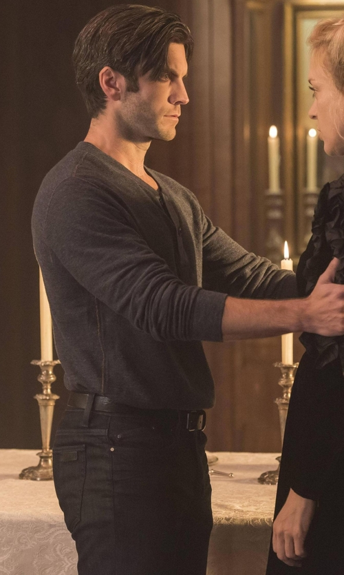 Wes Bentley with Vince Long Sleeve Henley Shirt in American Horror Story