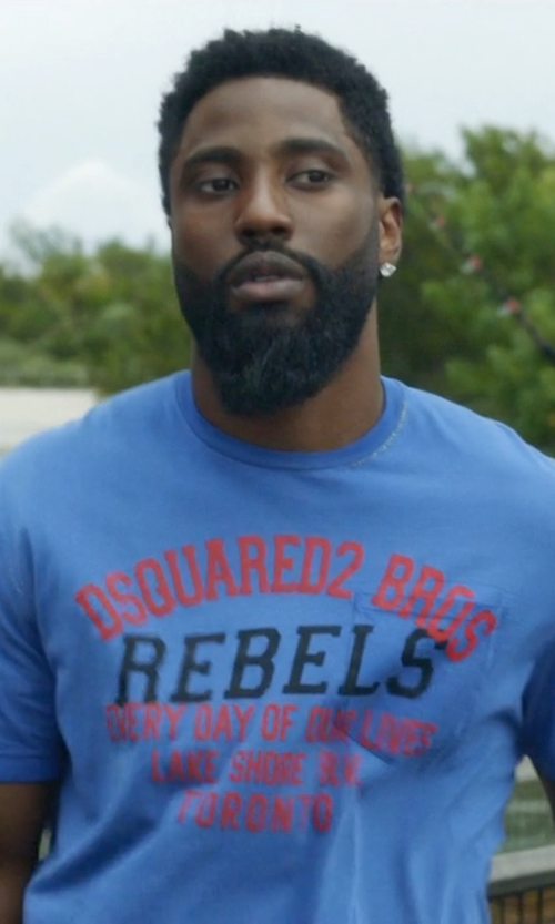John David Washington with DSquared2 Rebels Printed Surf Fit Cotton T-Shirt in Ballers
