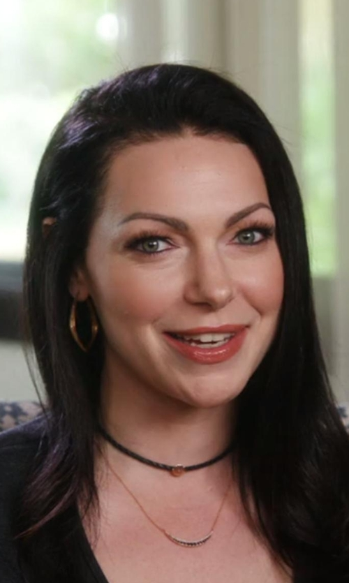 Laura Prepon with Jacquie Aiche Leather Braided Choker Necklace in Chelsea