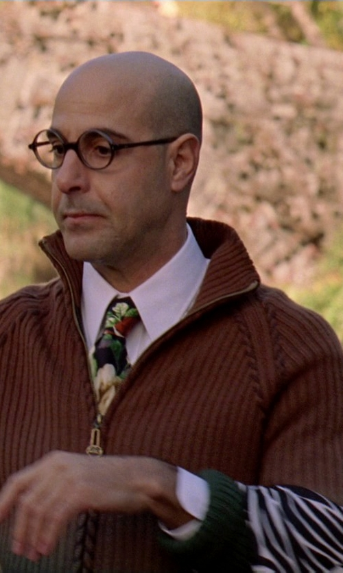 Stanley Tucci with Roberto Cavalli Zebra Printed Scarf in The Devil Wears Prada