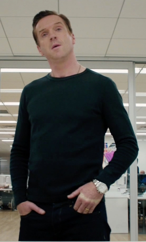 Damian Lewis with Rag & Bone Raglan Sleeve Knit T-Shirt in Billions