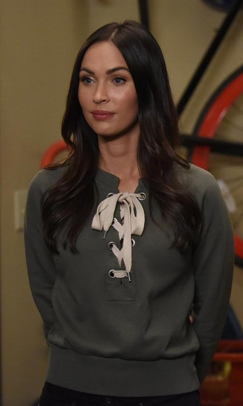 Megan Fox with Sincerely Jules Lace-Up Crop Sweatshirt in New Girl