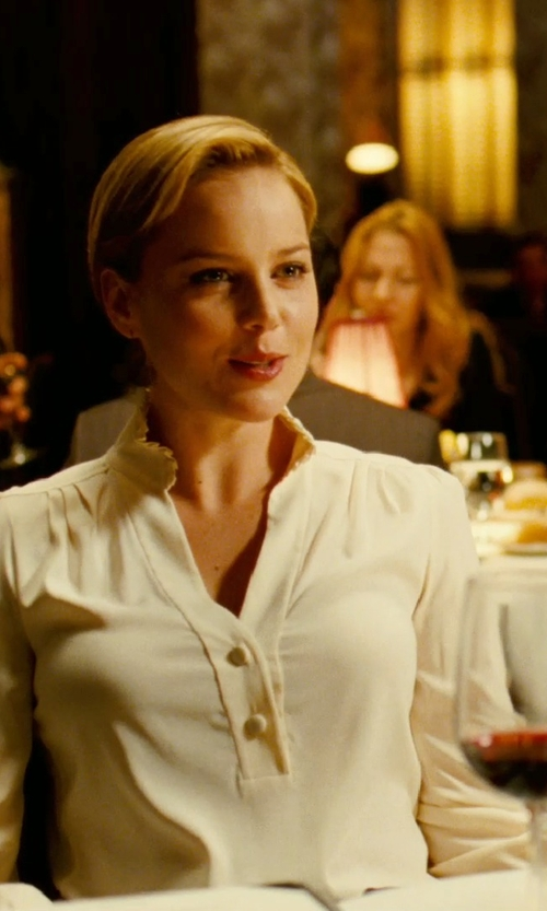 Abbie Cornish with Diane Von Furstenberg Chloe Silk-Chiffon Peasant Top in Limitless