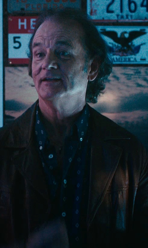 Bill Murray with Asos Faux Leather Biker Jacket in Rock The Kasbah