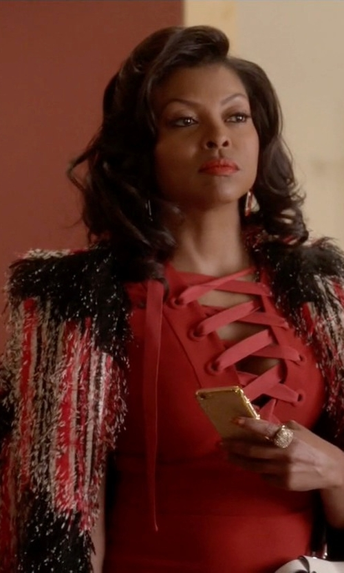 Taraji P. Henson with Fendi Pre-Fall 15 Textured Coat in Empire