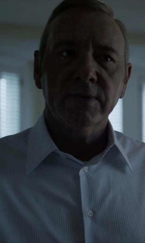 Kevin Spacey with Lanvin Button-Cuff Striped Cotton Shirt in House of Cards
