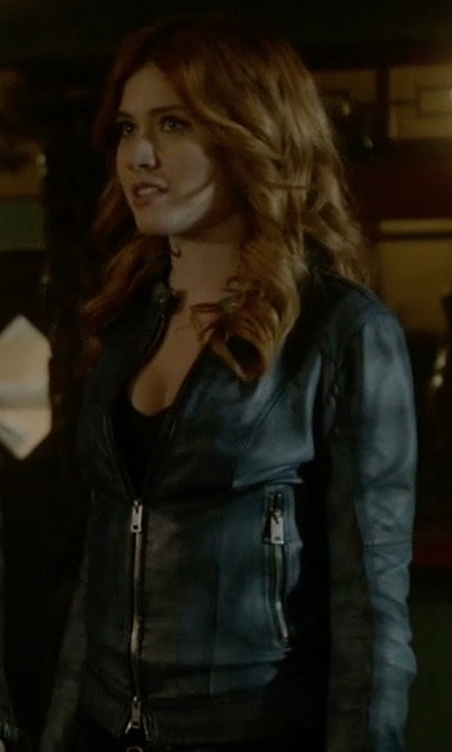 Katherine McNamara with Diesel Zipped Leather Jacket in Shadowhunters