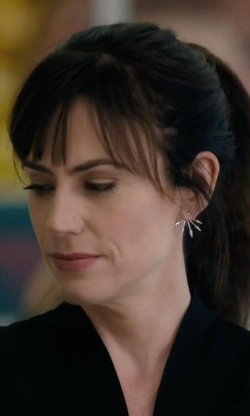 Maggie Siff with Pamela Love Five Spike Earrings in Billions