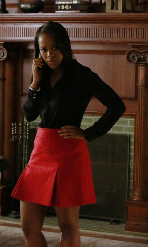 Aja Naomi King with T Tahari  Taylor Roll Sleeve Blouse in How To Get Away With Murder