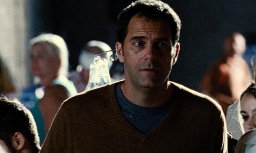Andy Buckley with Alexander Wang Fine-Stripe Short-Sleeve Linen Blue Tee in Jurassic World