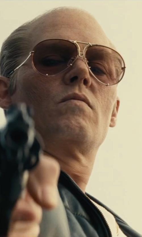 Johnny Depp with Porsche Carrera Vintage Oversized Aviator Sunglasses in Black Mass