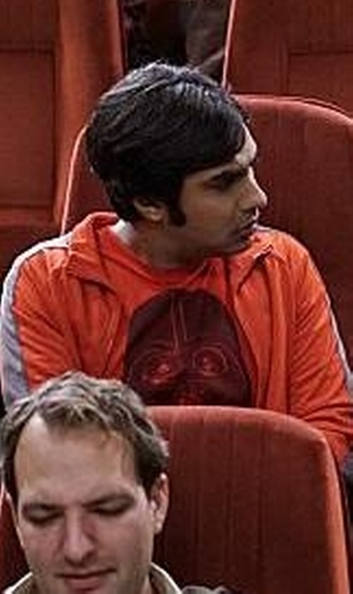 Kunal Nayyar with Red Bubble Darth Vader Star Wars The Force Awakens Tee in The Big Bang Theory