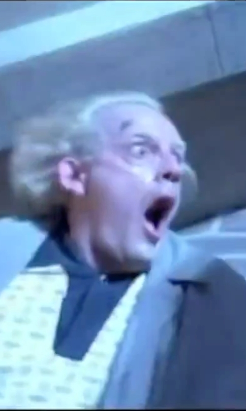 Christopher Lloyd with London Fog Iconic Belted Trench Raincoat in Back To The Future