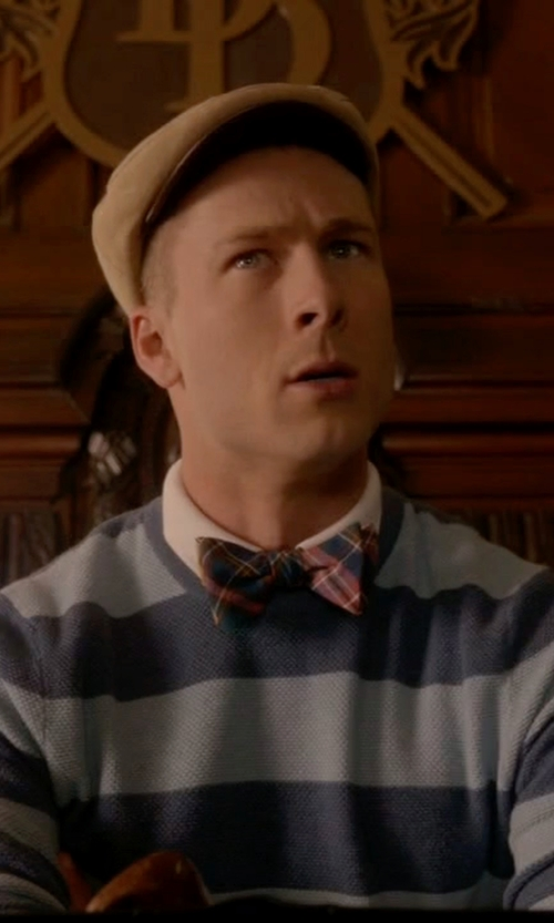 Glen Powell with David Donahue Plaid Silk Bow Tie in Scream Queens