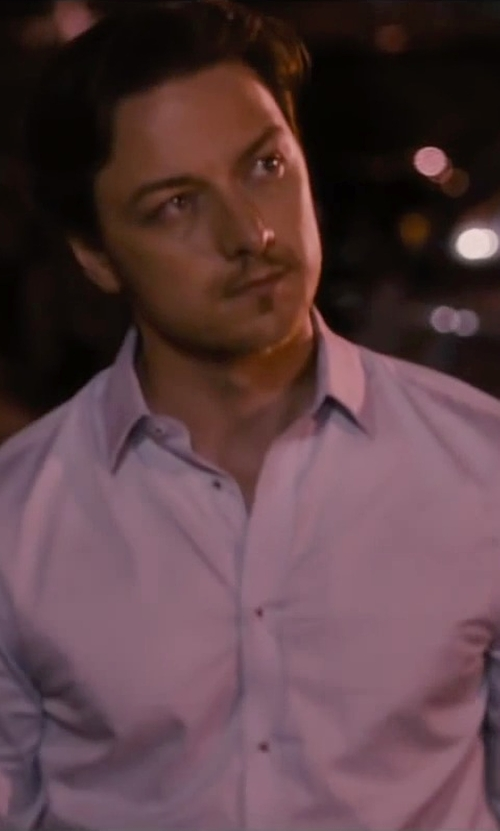 James McAvoy with Hugo Boss Solid French Cuff Shirt in The Disappearance of Eleanor Rigby
