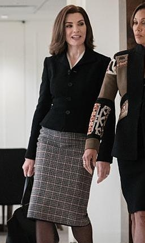 Julianna Margulies with Calvin Klein Woven-Plaid Pencil Skirt in The Good Wife
