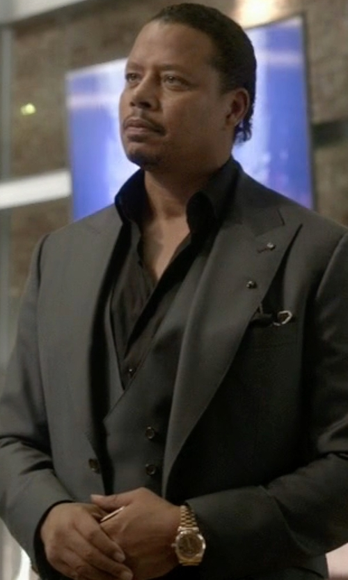 Terrence Howard  with Boss Hugo Boss Huge Genius Slim Birdseye Three-Piece Suit in Empire