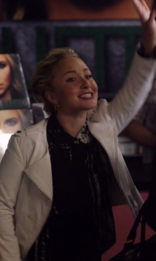 Hayden Panettiere with A.L.C. Song Print Silk Blouse in Nashville