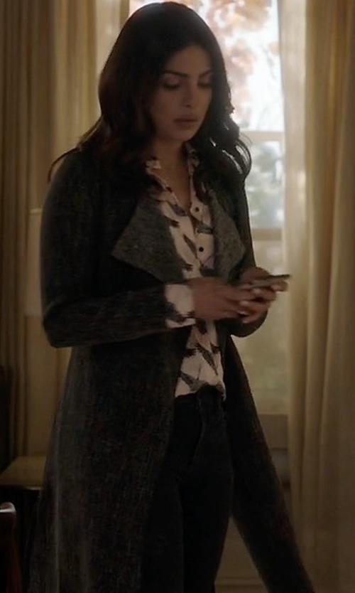 Priyanka Chopra with Joseph Long Wool Wrap Coat in Quantico