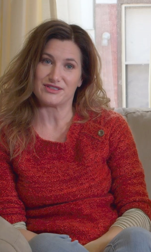 Kathryn Hahn with Free People 'Angel Island' Stripe Hacci Sweater in The Visit