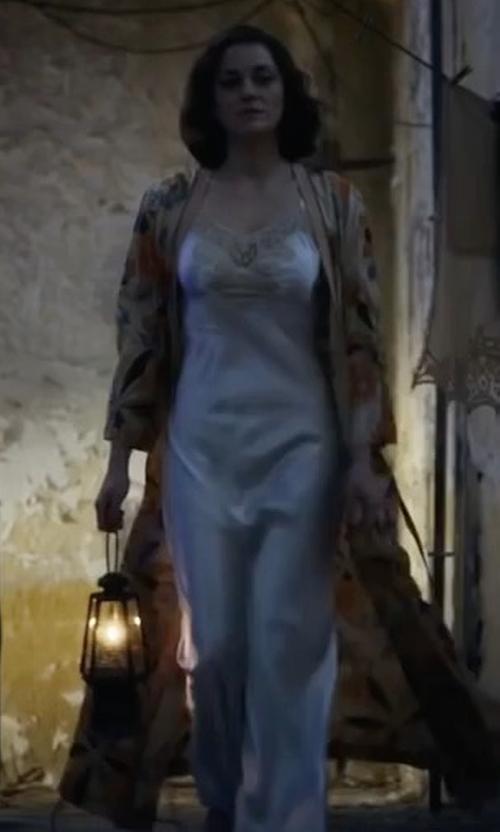 Marion Cotillard with Josie Natori Mani Silk Gown in Allied