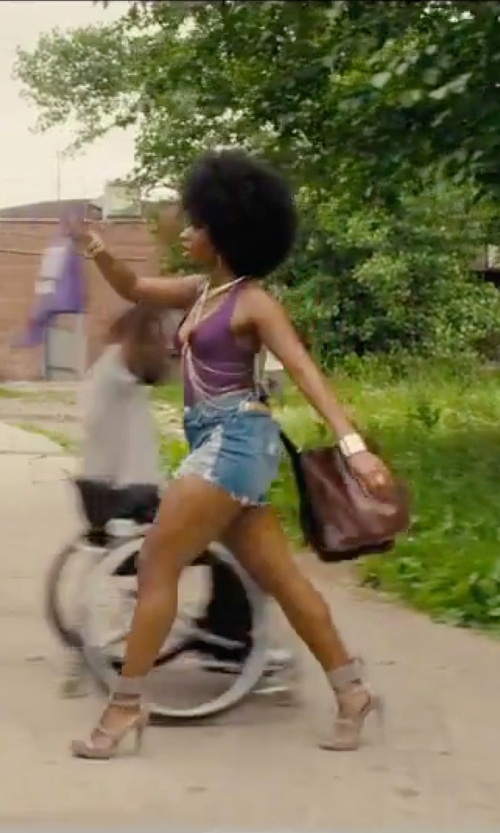 Teyonah Parris with Leather Bags Now Leather Messenger Bag in Chi-Raq