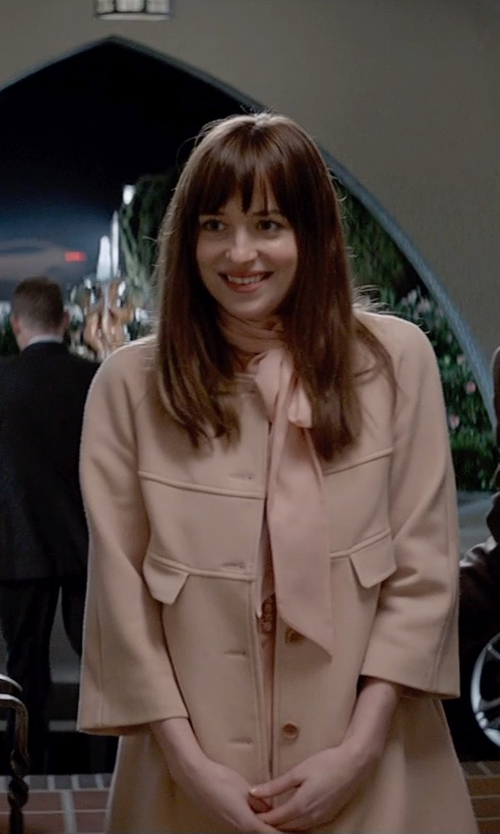 Dakota Johnson with Helene Berman Button Front Collarless Coat in Fifty Shades of Grey