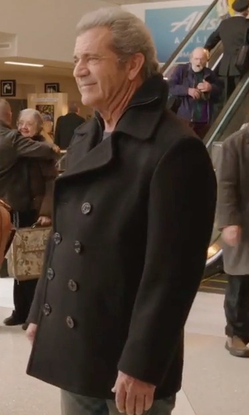 Mel Gibson with Marc New York Burnett Wool Blend Peacoat in Daddy's Home 2