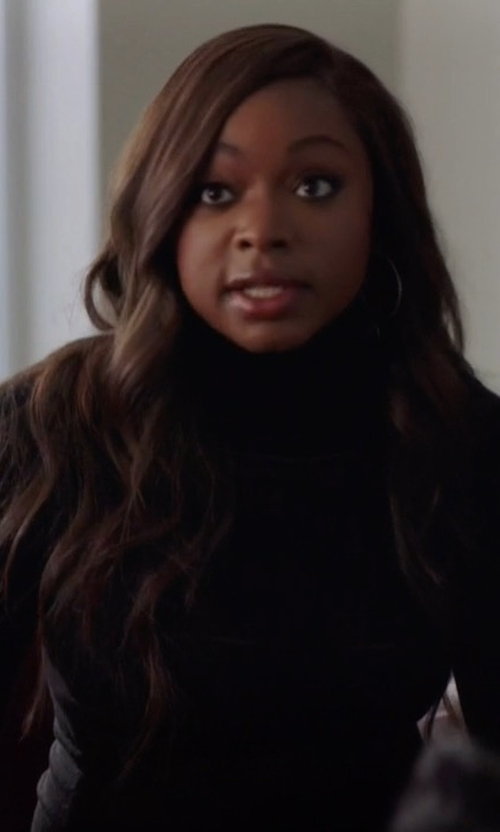 Naturi Naughton with Majestic Paris Soft Touch Mock Turtleneck Top in Power