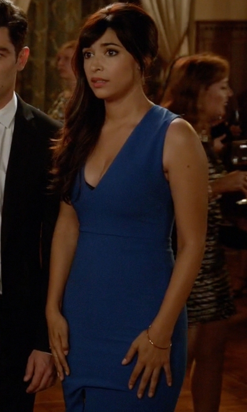 Hannah Simone with Alice + Olivia Marla Bodycon Dress in New Girl