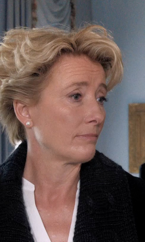 Emma Thompson with Honora Style White Pearl and 14k Yellow Gold Stud Earrings in A Walk in the Woods