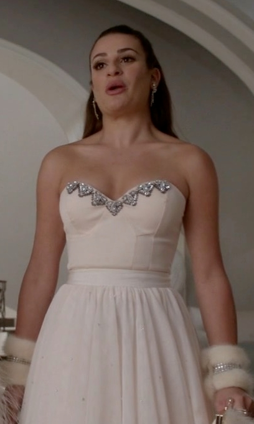 Lea Michele with Ted Baker London 'Odella' Embellished Tulle Skirt in Scream Queens