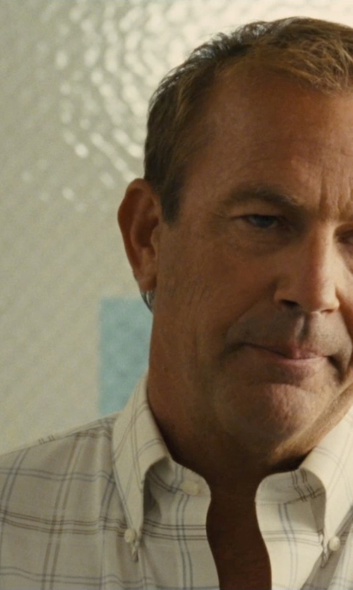 Kevin Costner with Nautica Core Plaid Anchor Wrinkle-Resistant Shirt in McFarland, USA
