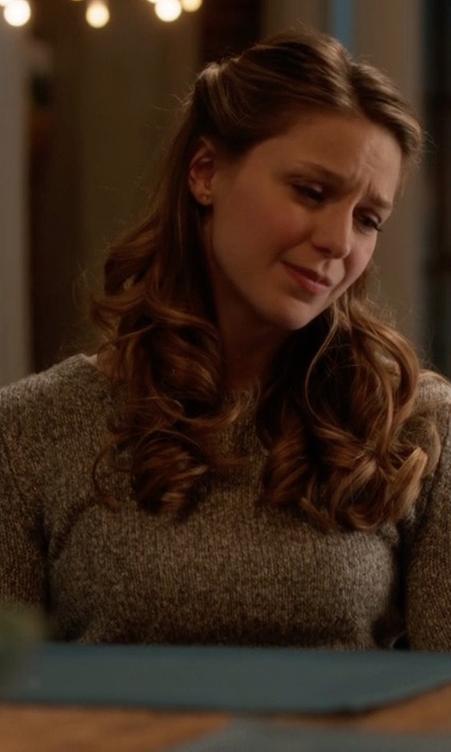 Melissa Benoist with Steele Blake Knit Sweater in Supergirl