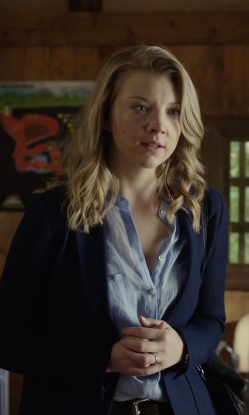 Natalie Dormer with Lulu's How Goes It Navy Blue Blazer in The Forest
