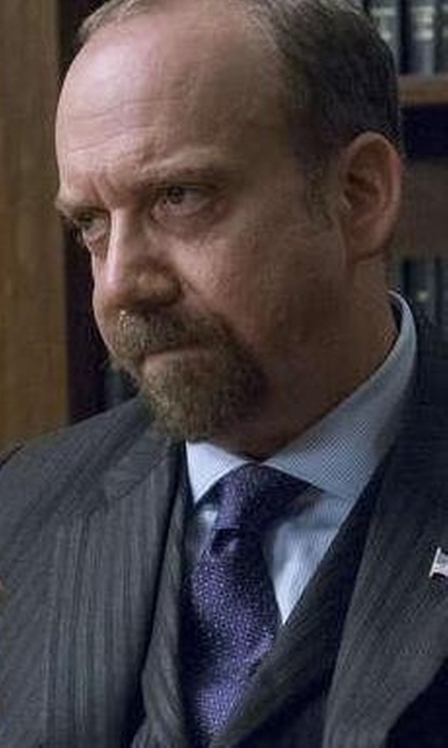 Paul Giamatti with Eton Woven Dotted Circles Neat Silk Tie in Billions