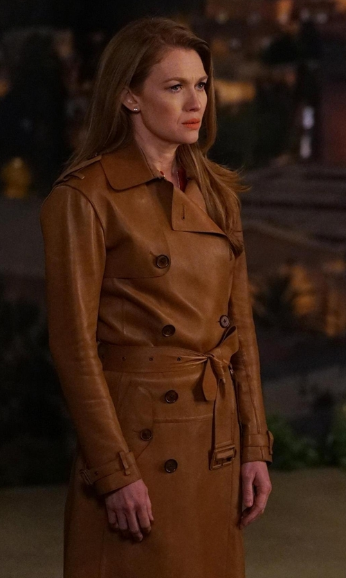 Mireille Enos with APC Julianne Cotton Trench Coat in The Catch