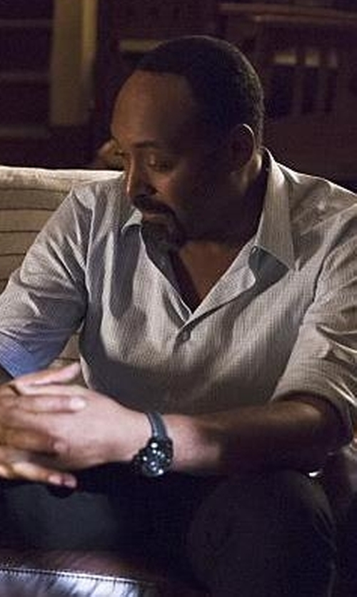 Jesse L. Martin with Tommy Hilfiger Sky Winder Dial Leather Strap Watch in The Flash