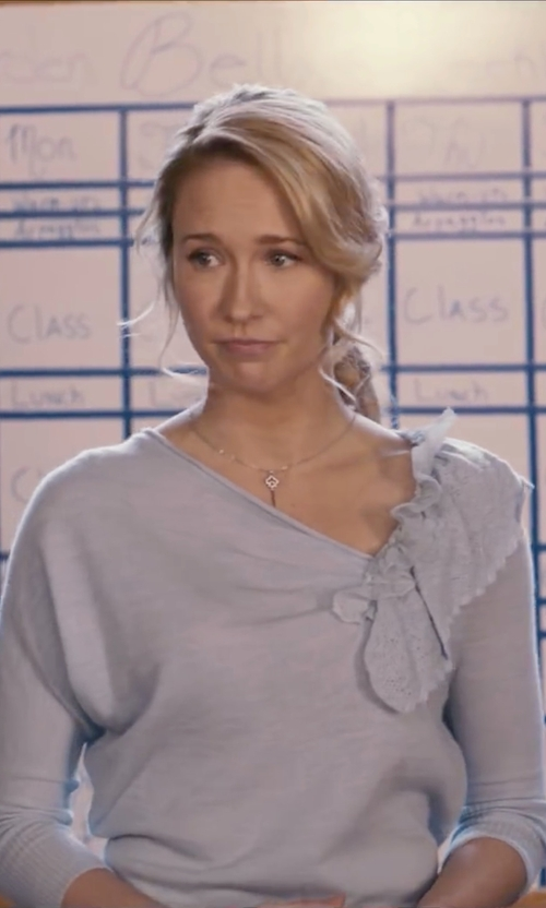 Anna Camp with Anthropologie Oblique Pointelle Pullover in Pitch Perfect