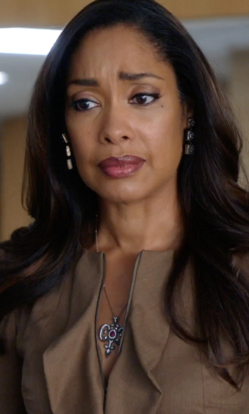 Gina Torres with Femme Metale Jewelry Lovey Dovey Pendant in Suits