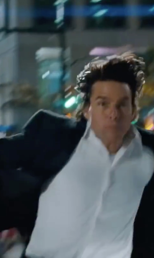 Tom Cruise with Armani Colezioni Solid Dress Shirt in Mission: Impossible - Ghost Protocol